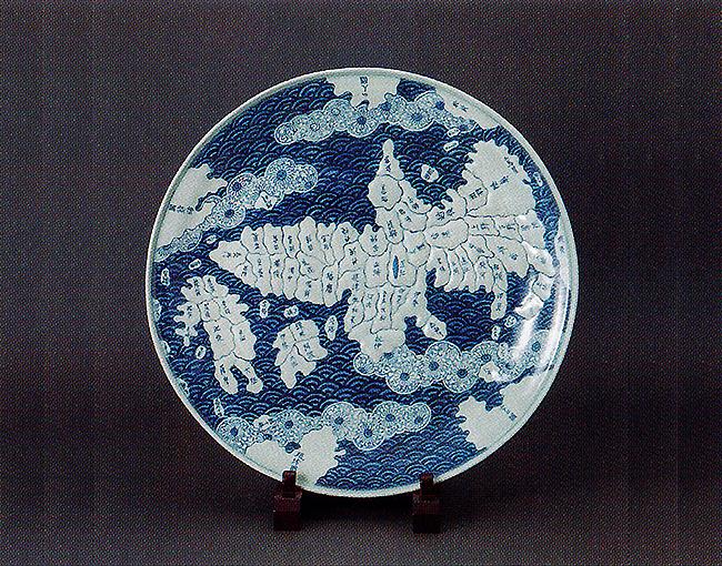 骨董品(古伊万里染付地図皿)