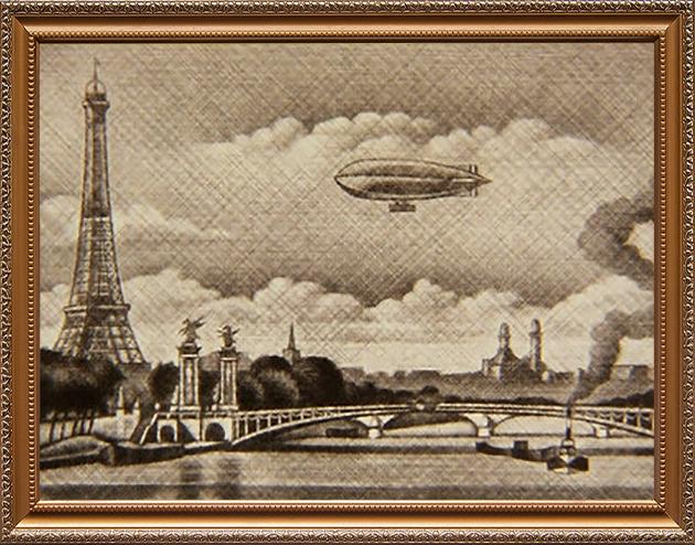 アレキサンドル三世橋とフランスの飛行船