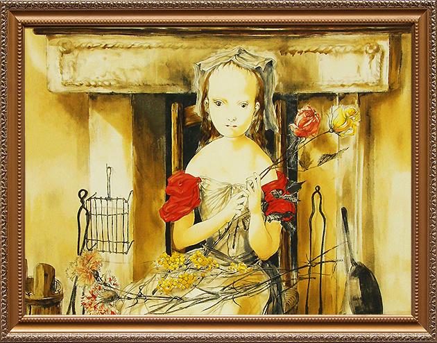 暖炉の前の少女
